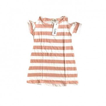 lumik-Pink Stripes Batwing Dress-