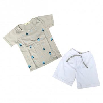 lumik-Lumik Grey Boat Baju Set-