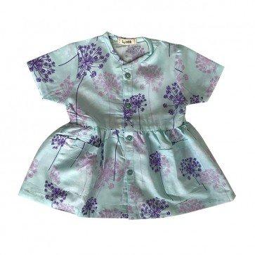 lumik-Short Blue Flowery Button Dress-