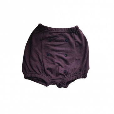lumik-Lumik Burgundy Plain Button Short-
