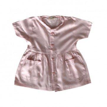 lumik-Pink Button Short Dress-