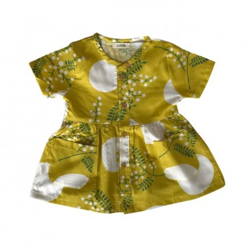 lumik-Short Yellow Flowery Button Dress-