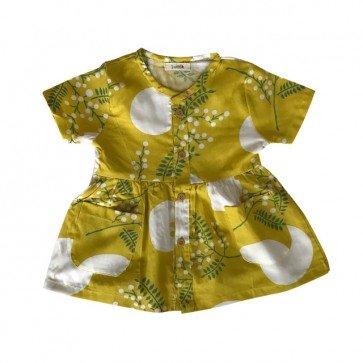 lumik-Short Yellow Flowery Button Dress-