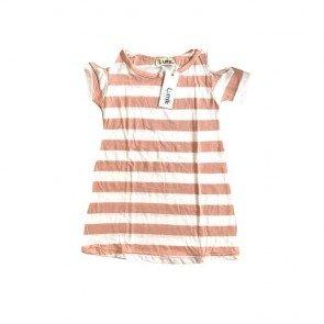 lumik-Pink Stripes Batwing Dress-