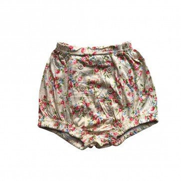 lumik-Lumik Yellow Flowery Button Short-