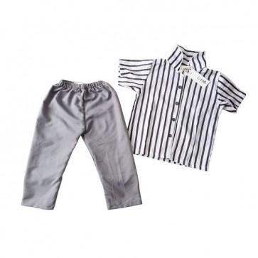 lumik-Pajamas Grey Stripes-