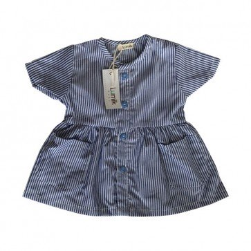 lumik-Short Blue Stripes Button Dress-