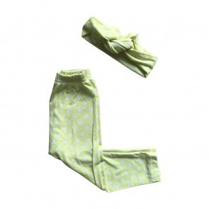 lumik-Lumik Green Polka Legging Set Headband-