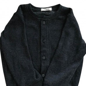 lumik-Lumik Dark Gray Plain Cardigan-