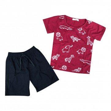 lumik-Lumik Maroon Animal Baju Set-