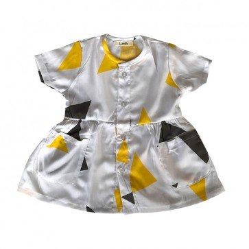 lumik-Short White Pyramid Button Dress-