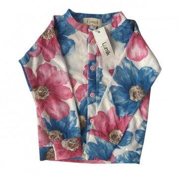 lumik-Blue & Pink Floral Cardigan-