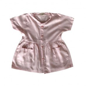 lumik-Pink Button Short Dress-