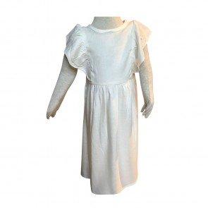lumik-Lumik White Plain Ruffle Long Dress-