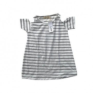 lumik-Black White Stripes Batwing Dress-