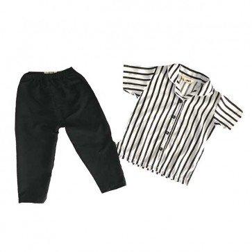 lumik-Pajamas Black White Stripes-