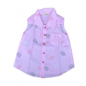 lumik-Lumik Pink Leaf Shirt Girl-