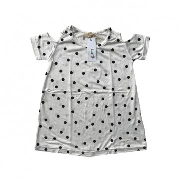 lumik-White Polka Batwing Dress-