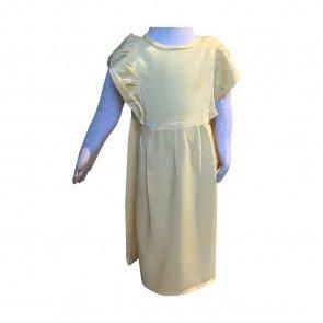 lumik-Lumik Yellow Plain Ruffle Long Dress-