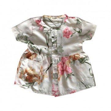 lumik-Short White Flowery Button Dress-