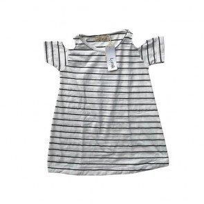 lumik-Black White Stripes Batwing Dress-