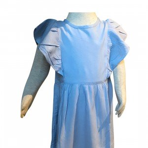 lumik-Lumik Light Blue Plain Ruffle Long Dress-