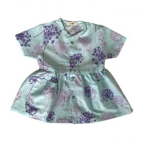 lumik-Short Blue Flowery Button Dress-