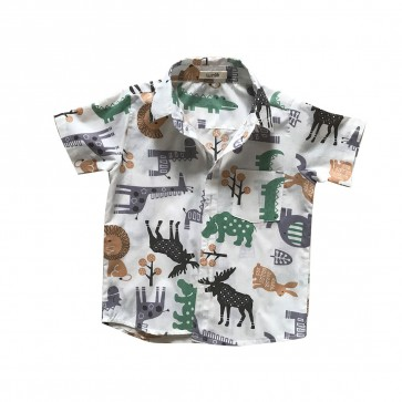 lumik-Lumik White Animal Baby Shirt-