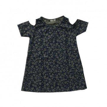lumik-Dark Green Flower Batwing Dress-
