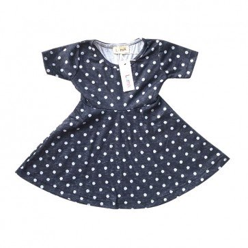 lumik-Navy Polka Simply Dress-