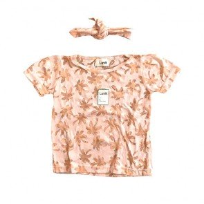 lumik-Peach Palm Tee Set-