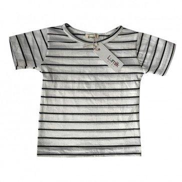 lumik-Black White Thin Stripes Tee-