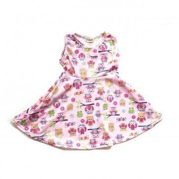 lumik-Pink Owl Play Dress-
