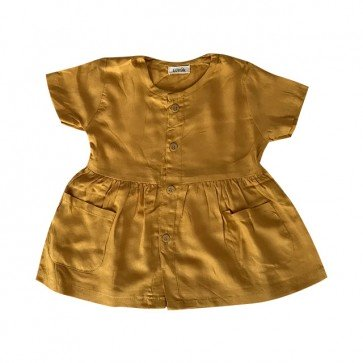lumik-Short Yellow Button Dress-