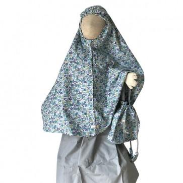 lumik-Blue Flowery Mukena-