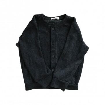 lumik-Lumik Dark Gray Plain Cardigan-