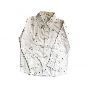 lumik-Lumik White Dino Longsleeve Shirt-