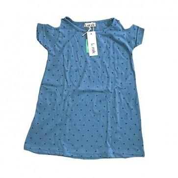 lumik-Blue Dots Batwing Dress-