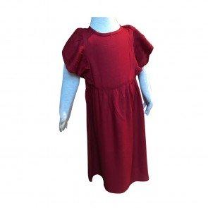 lumik-Lumik Maroon Plain Ruffle Long Dress-