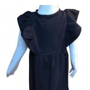 lumik-Lumik Navy Plain Ruffle Long Dress-
