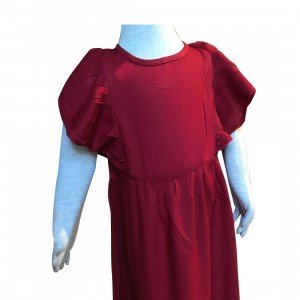 lumik-Lumik Maroon Plain Ruffle Long Dress-