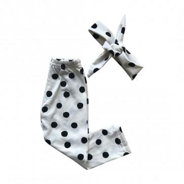lumik-Lumik White Polka Legging Set Headband-
